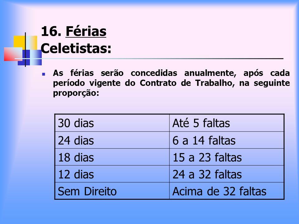16. Férias Celetistas: 30 dias Até 5 faltas 24 dias 6 a 14 faltas