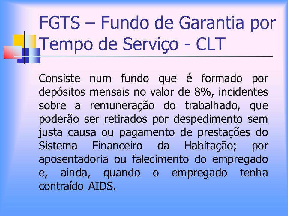 FGTS – Fundo de Garantia por Tempo de Serviço - CLT