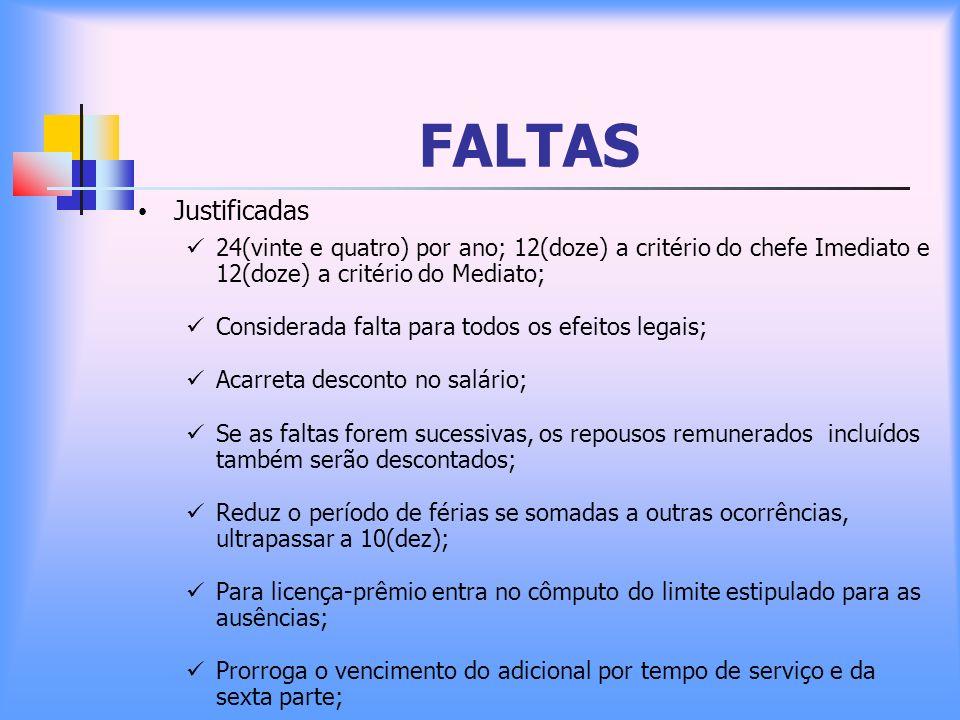 FALTAS Justificadas. 24(vinte e quatro) por ano; 12(doze) a critério do chefe Imediato e 12(doze) a critério do Mediato;