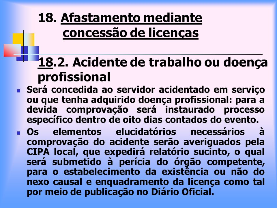 18. Afastamento mediante concessão de licenças 18. 2