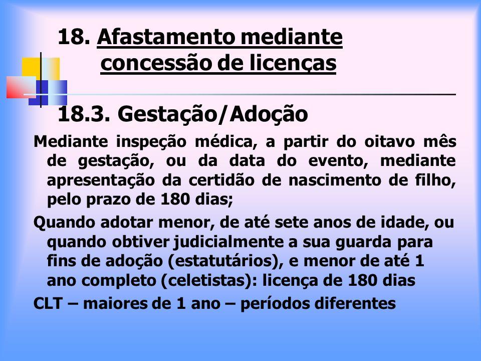 18. Afastamento mediante concessão de licenças 18.3. Gestação/Adoção