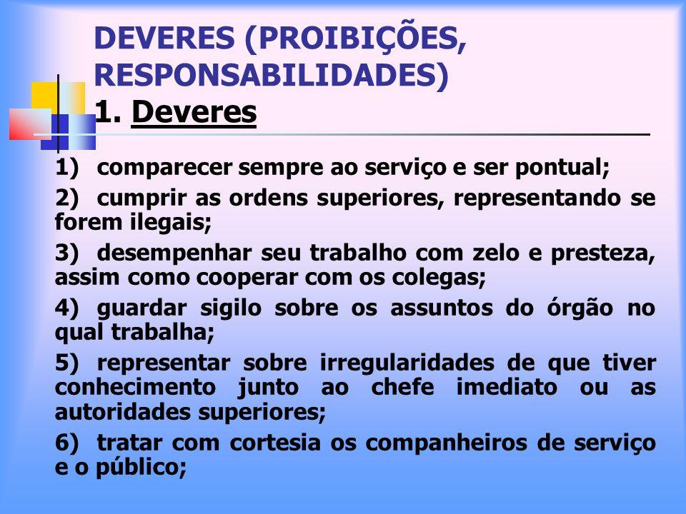 DEVERES (PROIBIÇÕES, RESPONSABILIDADES) 1. Deveres