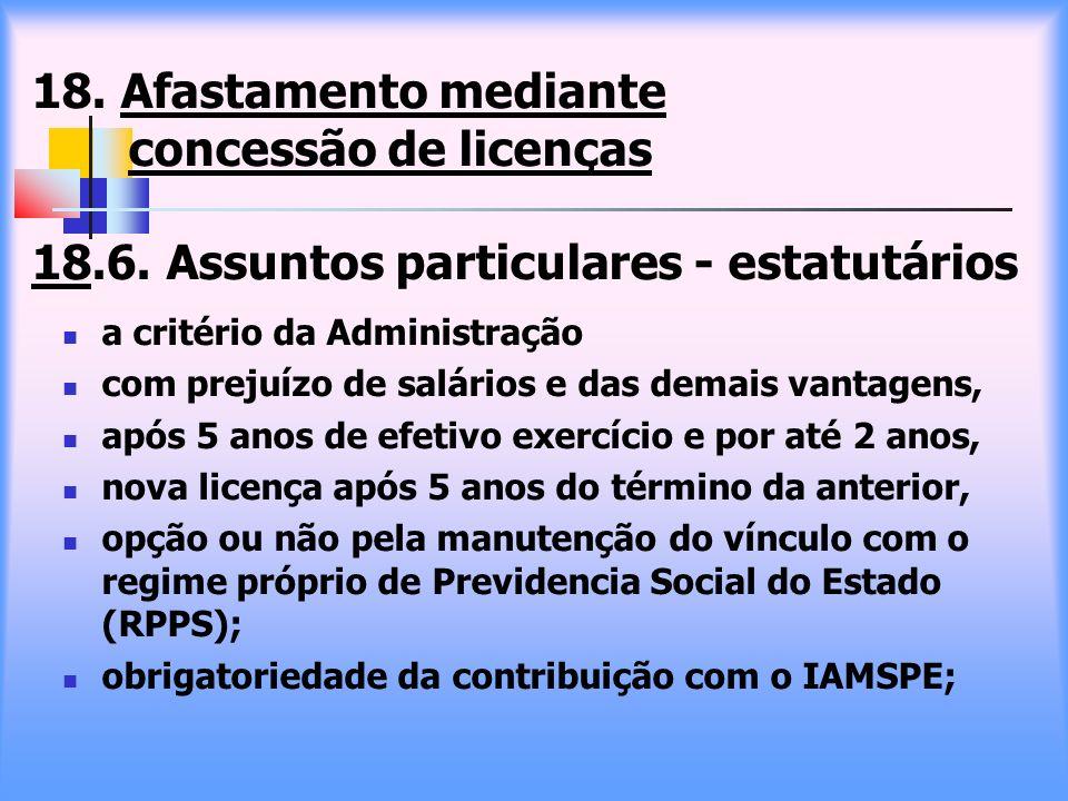 18. Afastamento mediante concessão de licenças 18. 6