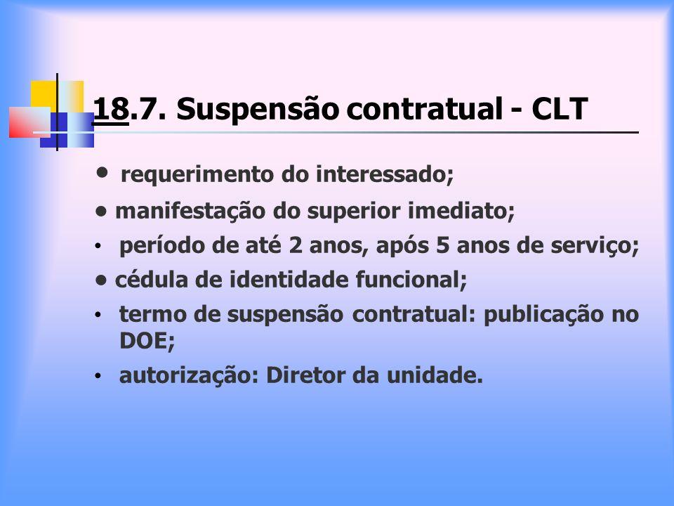 18.7. Suspensão contratual - CLT