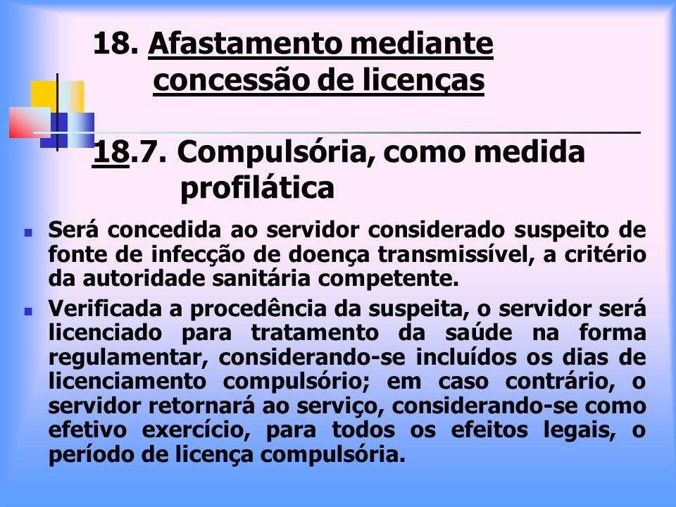 18. Afastamento mediante concessão de licenças 18. 7