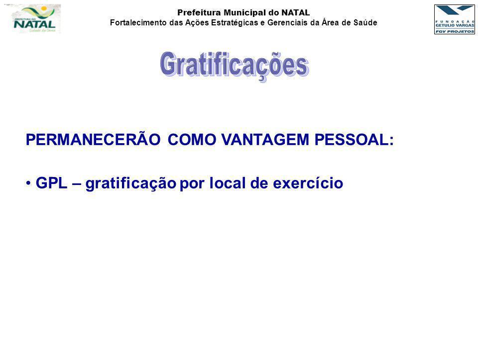 Gratificações PERMANECERÃO COMO VANTAGEM PESSOAL: