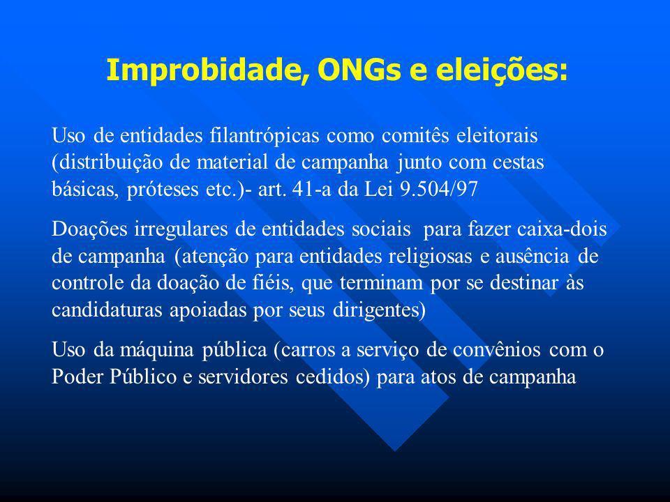 Improbidade, ONGs e eleições: