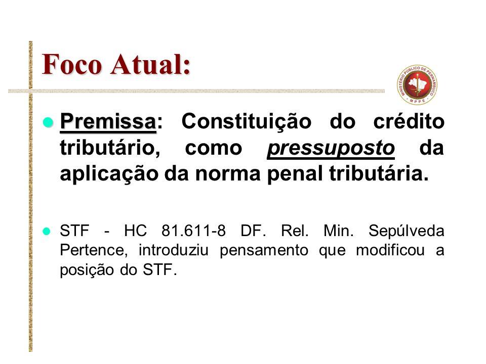Foco Atual: Premissa: Constituição do crédito tributário, como pressuposto da aplicação da norma penal tributária.