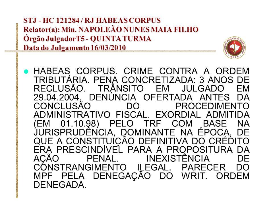 STJ - HC 121284 / RJ HABEAS CORPUS Relator(a): Min