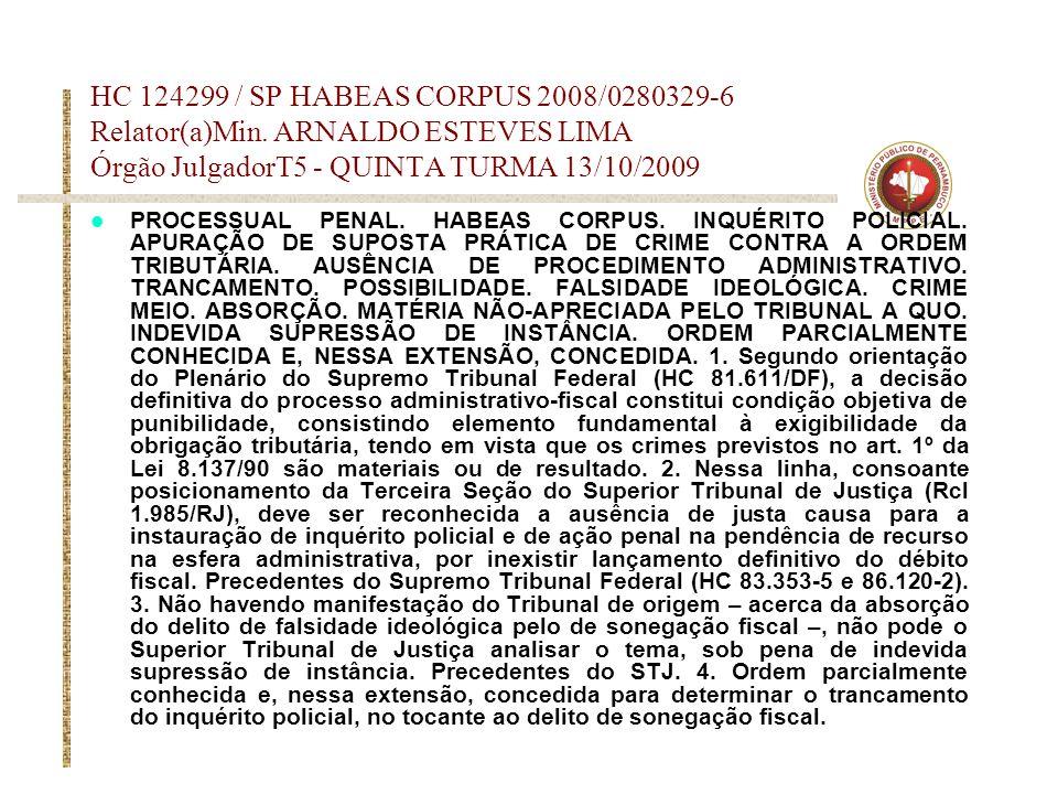 HC 124299 / SP HABEAS CORPUS 2008/0280329-6 Relator(a)Min