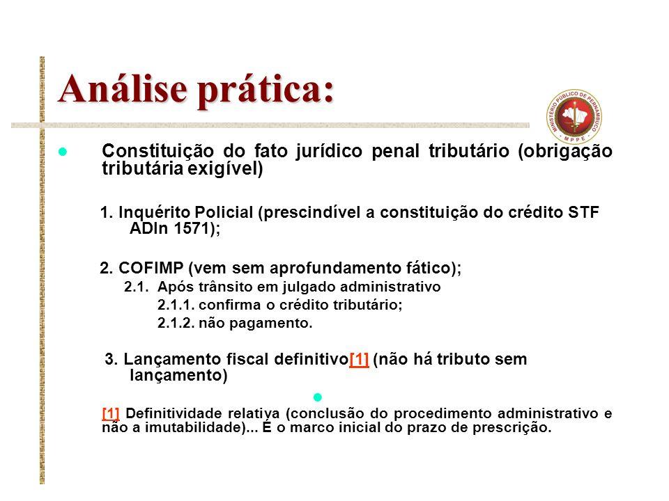 Análise prática: Constituição do fato jurídico penal tributário (obrigação tributária exigível)