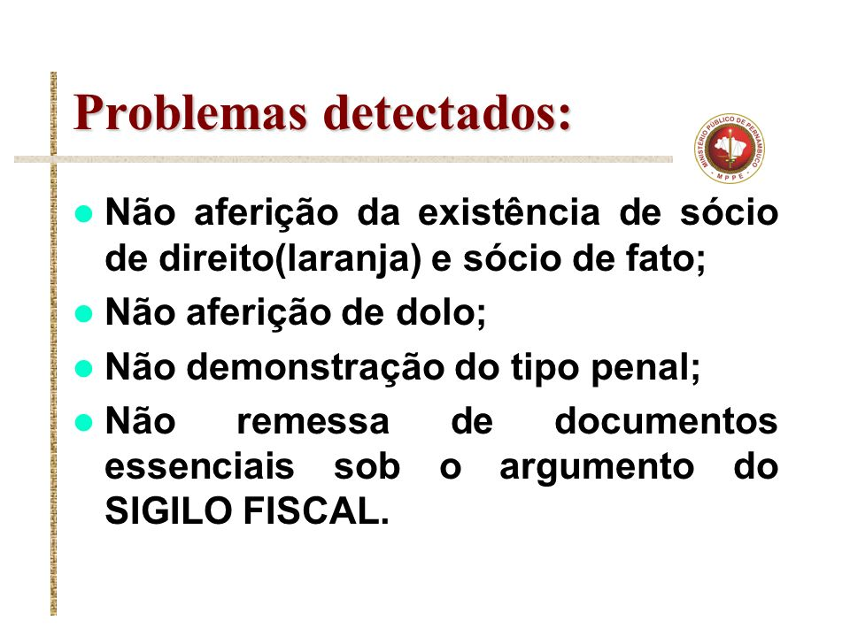Problemas detectados: