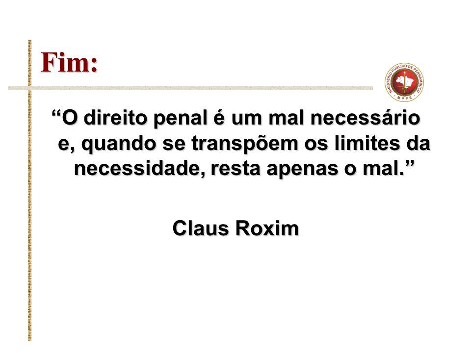 Fim: O direito penal é um mal necessário e, quando se transpõem os limites da necessidade, resta apenas o mal.