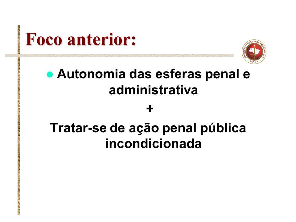 Foco anterior: Autonomia das esferas penal e administrativa +