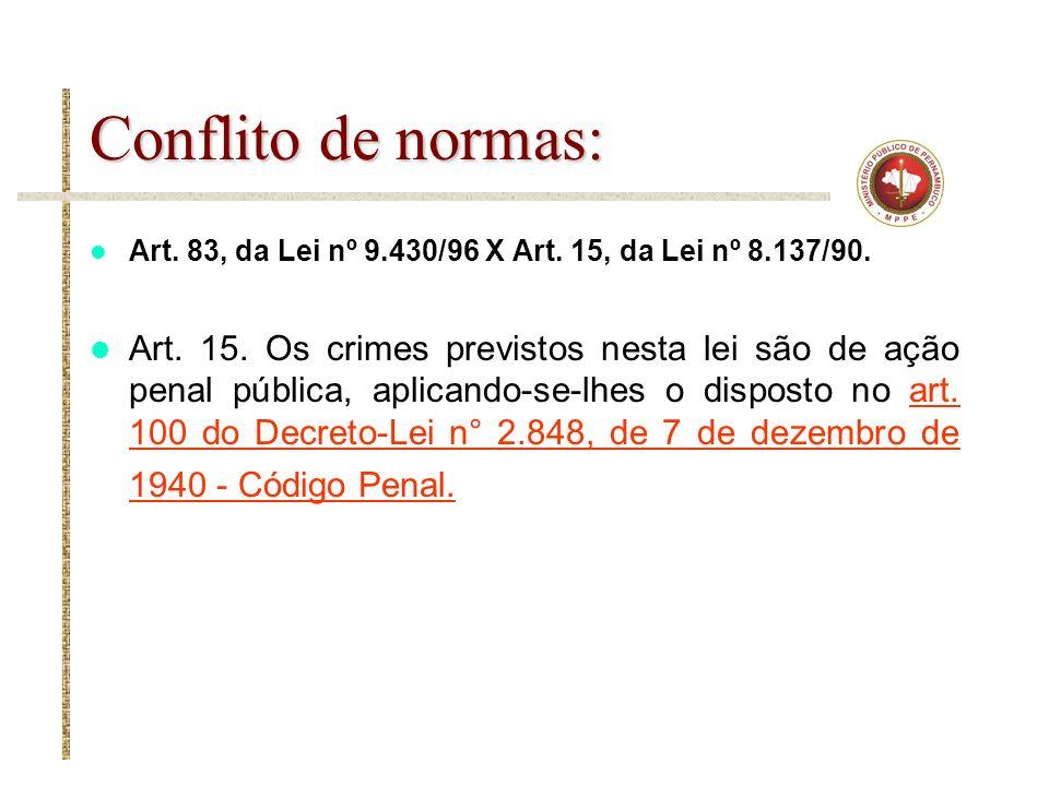 Conflito de normas: Art. 83, da Lei nº 9.430/96 X Art. 15, da Lei nº 8.137/90.