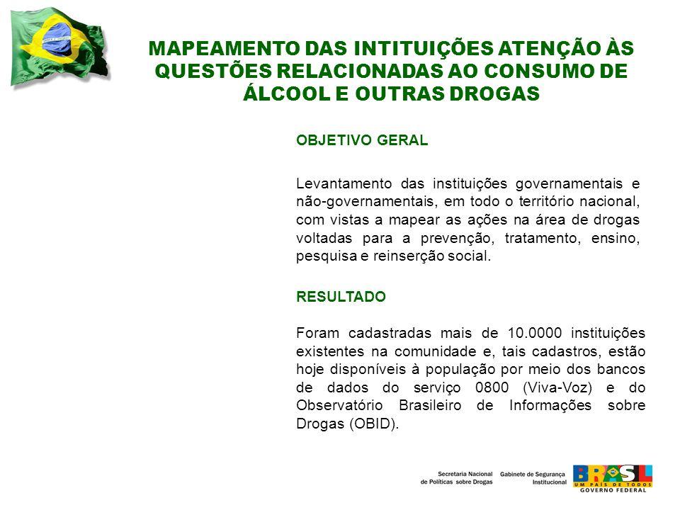 MAPEAMENTO DAS INTITUIÇÕES ATENÇÃO ÀS QUESTÕES RELACIONADAS AO CONSUMO DE ÁLCOOL E OUTRAS DROGAS