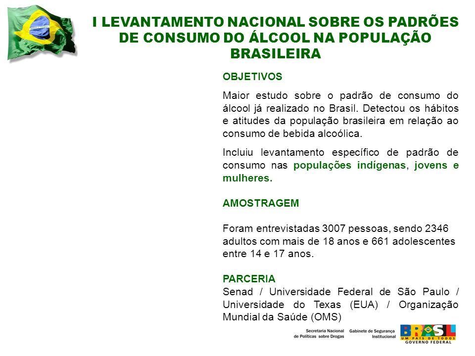 I LEVANTAMENTO NACIONAL SOBRE OS PADRÕES DE CONSUMO DO ÁLCOOL NA POPULAÇÃO BRASILEIRA