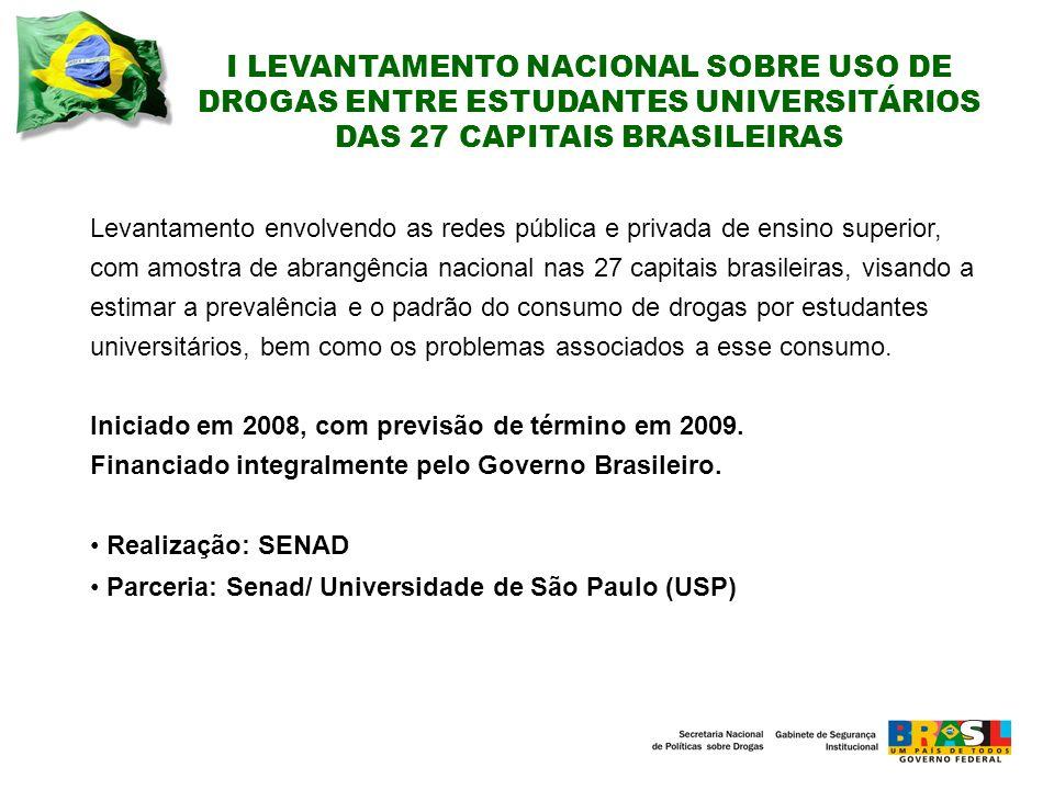 I LEVANTAMENTO NACIONAL SOBRE USO DE DROGAS ENTRE ESTUDANTES UNIVERSITÁRIOS DAS 27 CAPITAIS BRASILEIRAS