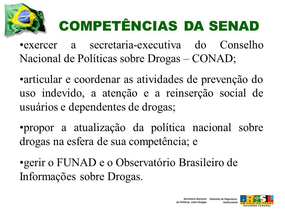 COMPETÊNCIAS DA SENAD exercer a secretaria-executiva do Conselho Nacional de Políticas sobre Drogas – CONAD;
