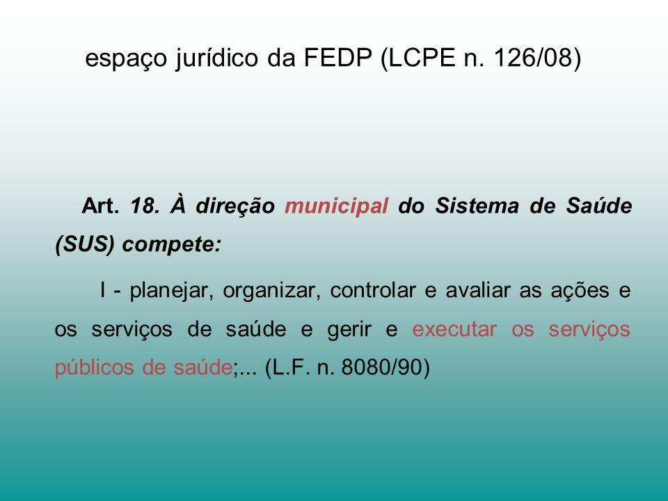 espaço jurídico da FEDP (LCPE n. 126/08)