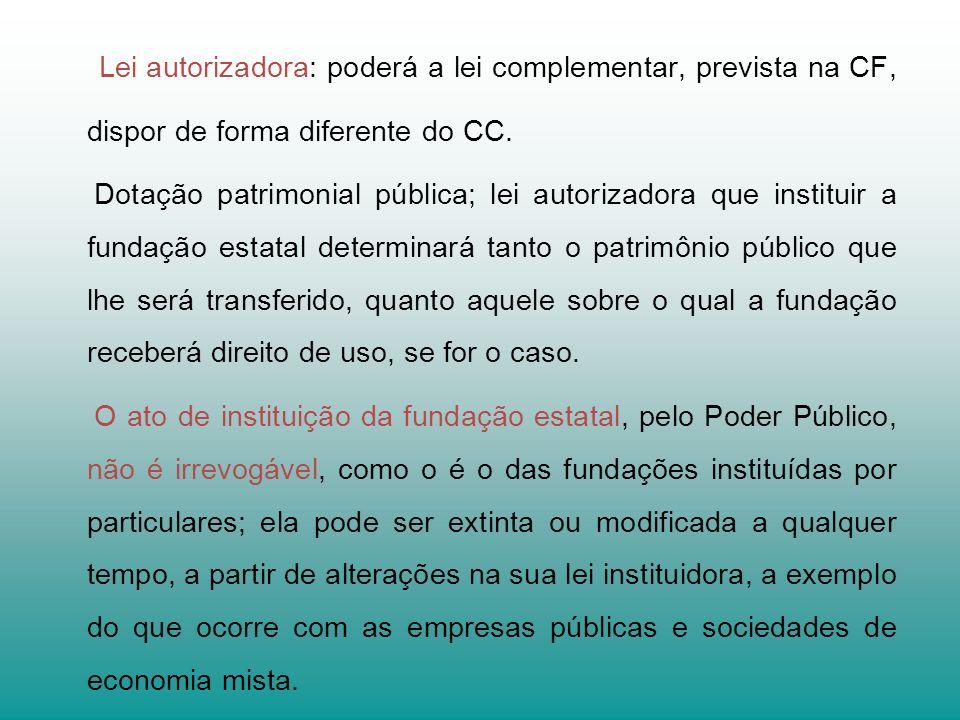 Lei autorizadora: poderá a lei complementar, prevista na CF, dispor de forma diferente do CC.