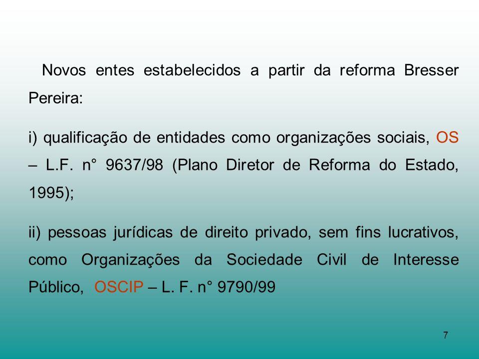 Novos entes estabelecidos a partir da reforma Bresser Pereira:
