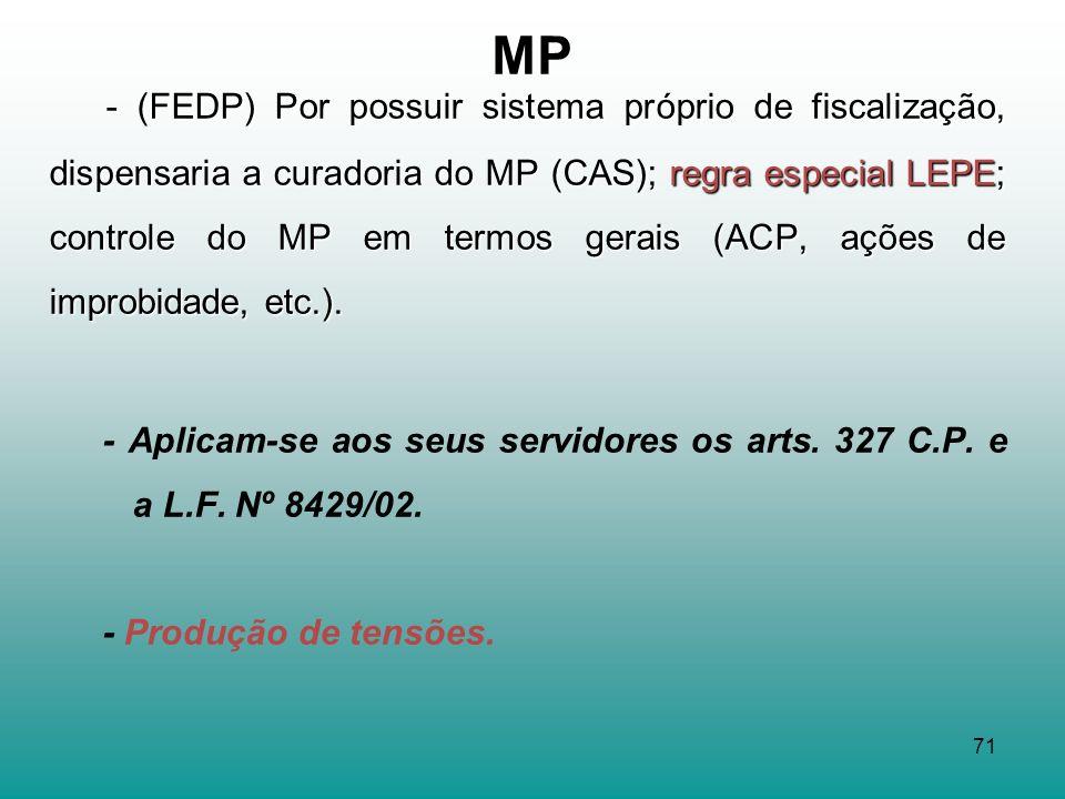- (FEDP) Por possuir sistema próprio de fiscalização, dispensaria a curadoria do MP (CAS); regra especial LEPE; controle do MP em termos gerais (ACP, ações de improbidade, etc.).