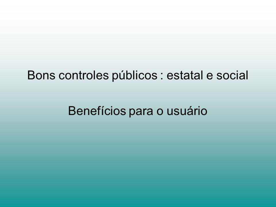Bons controles públicos : estatal e social Benefícios para o usuário