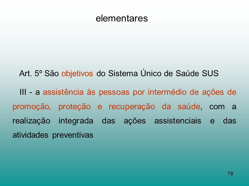 elementares Art. 5º São objetivos do Sistema Único de Saúde SUS