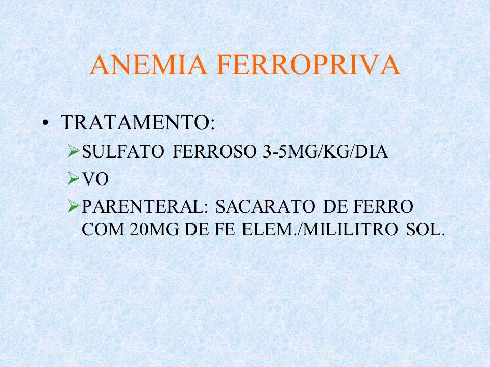 ANEMIA FERROPRIVA TRATAMENTO: SULFATO FERROSO 3-5MG/KG/DIA VO