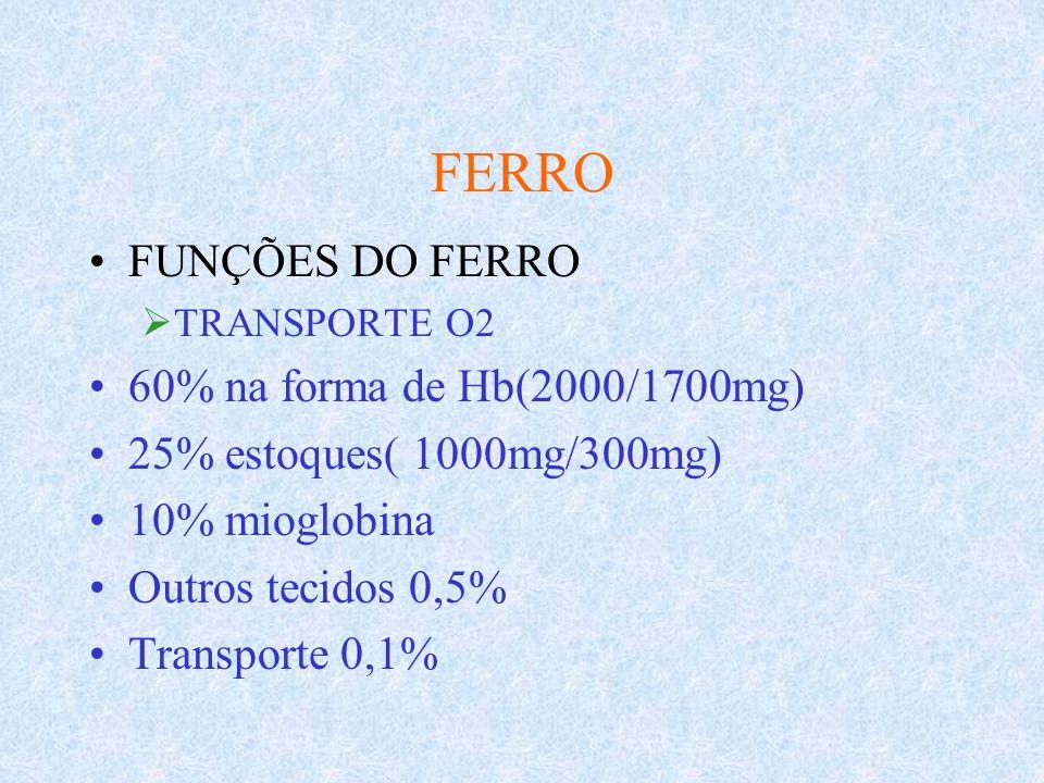 FERRO FUNÇÕES DO FERRO 60% na forma de Hb(2000/1700mg)