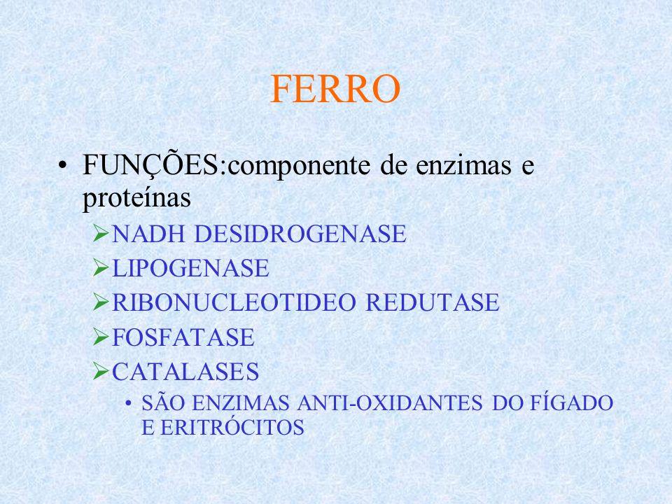 FERRO FUNÇÕES:componente de enzimas e proteínas NADH DESIDROGENASE