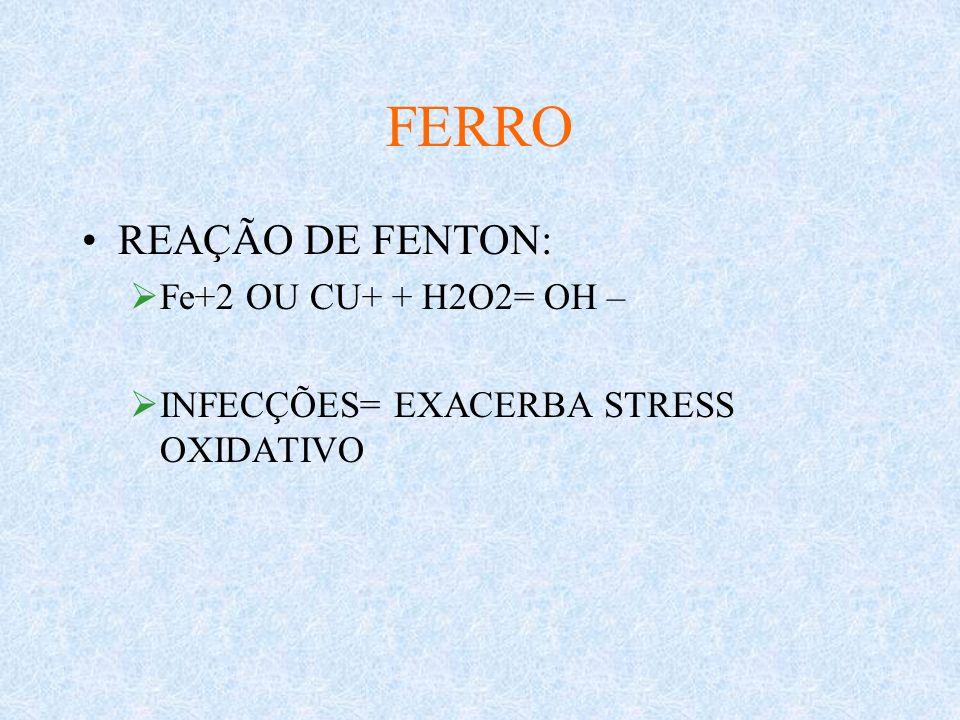 FERRO REAÇÃO DE FENTON: Fe+2 OU CU+ + H2O2= OH –