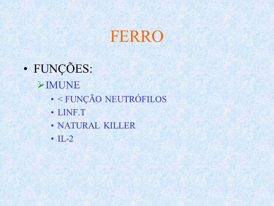 FERRO FUNÇÕES: IMUNE < FUNÇÃO NEUTRÓFILOS LINF.T NATURAL KILLER