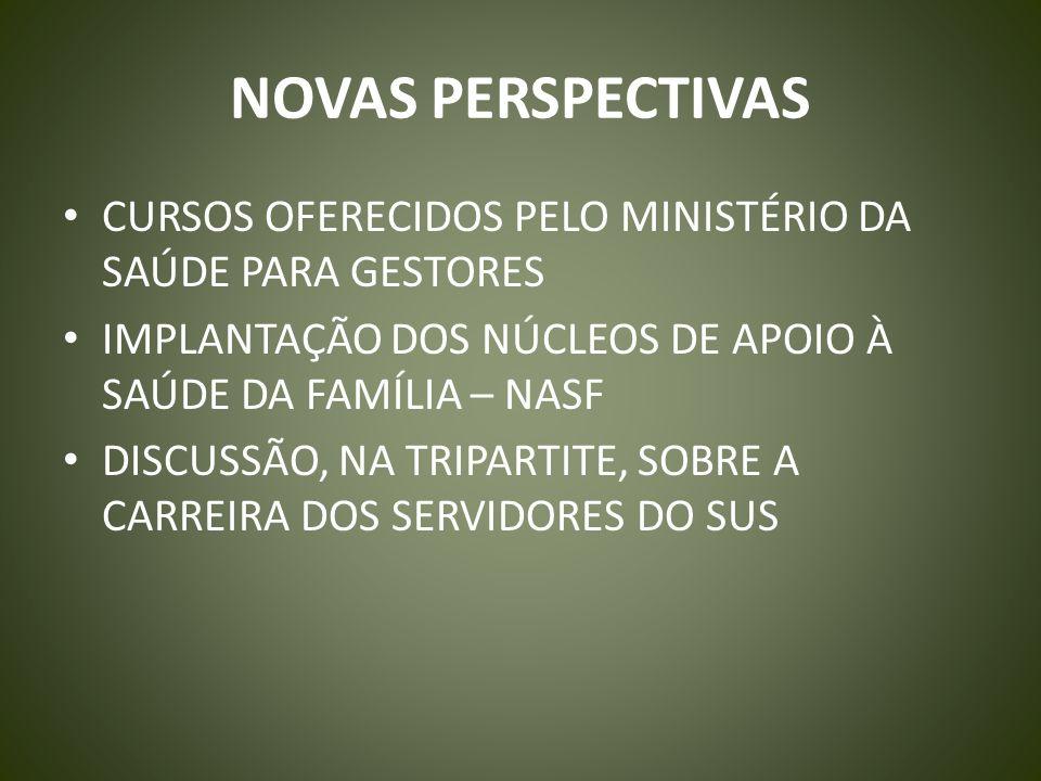 NOVAS PERSPECTIVAS CURSOS OFERECIDOS PELO MINISTÉRIO DA SAÚDE PARA GESTORES. IMPLANTAÇÃO DOS NÚCLEOS DE APOIO À SAÚDE DA FAMÍLIA – NASF.