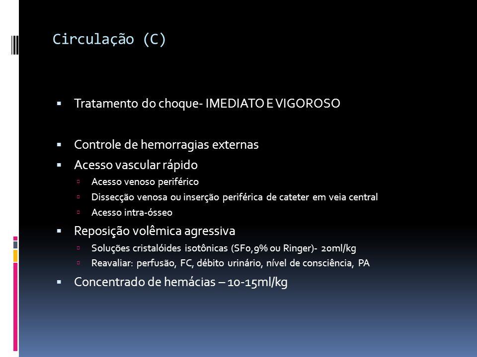 Circulação (C) Tratamento do choque- IMEDIATO E VIGOROSO