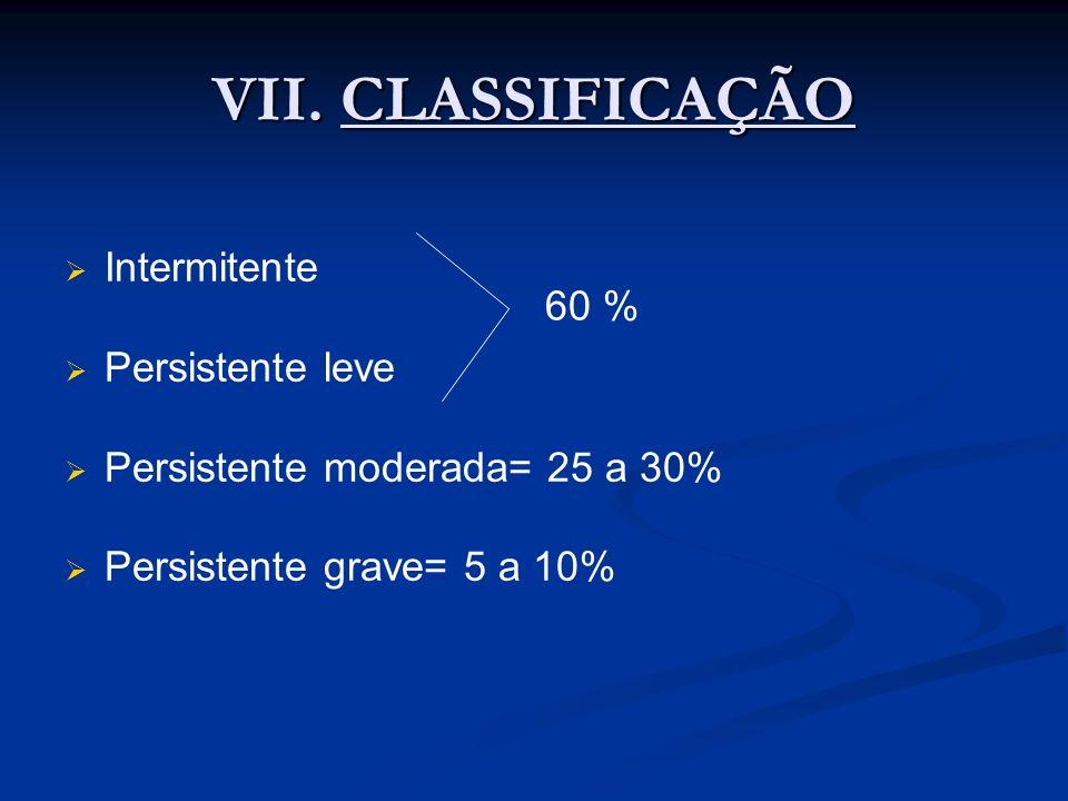 VII. CLASSIFICAÇÃO Intermitente 60 % Persistente leve