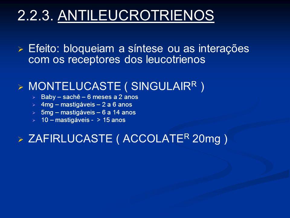 2.2.3. ANTILEUCROTRIENOS Efeito: bloqueiam a síntese ou as interações com os receptores dos leucotrienos.