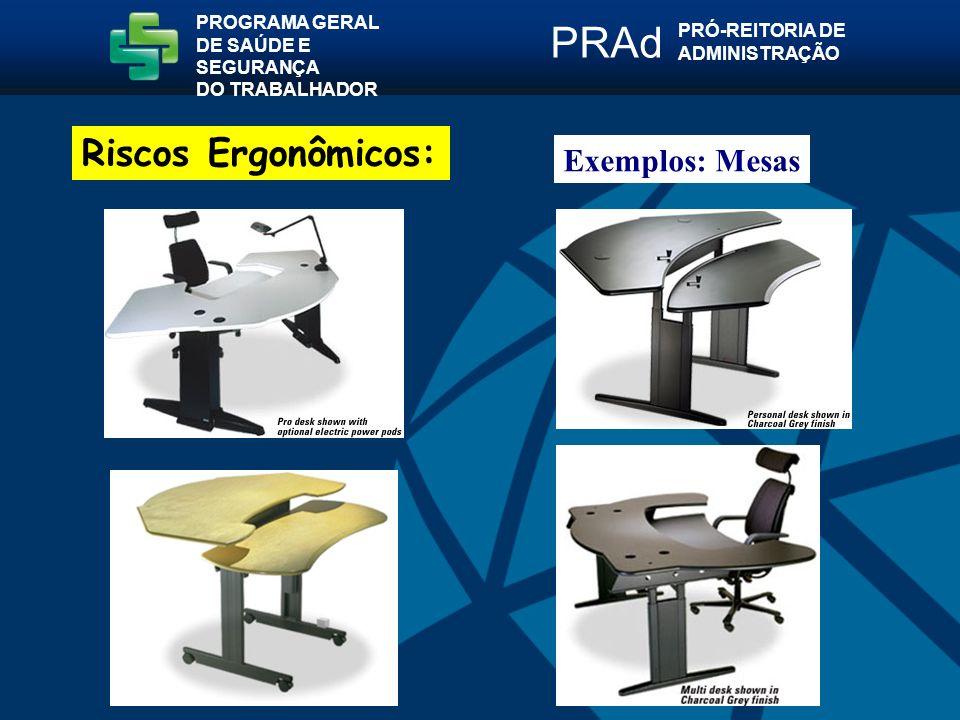 PRAd Riscos Ergonômicos: Exemplos: Mesas PROGRAMA GERAL
