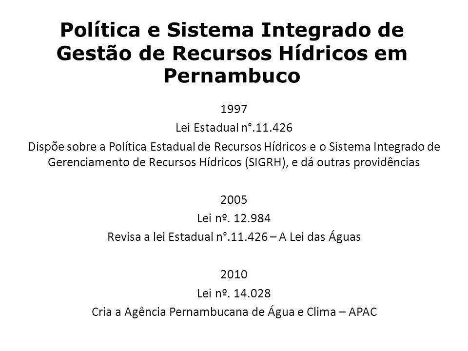 Política e Sistema Integrado de Gestão de Recursos Hídricos em Pernambuco