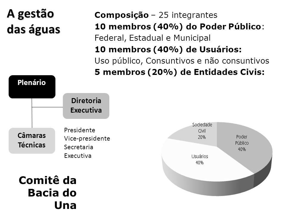 A gestão das águas Comitê da Bacia do Una Composição – 25 integrantes