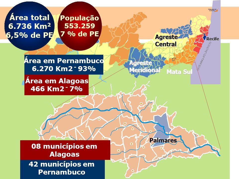 Área total 6.736 Km2 6,5% de PE População 553.259 7 % de PE