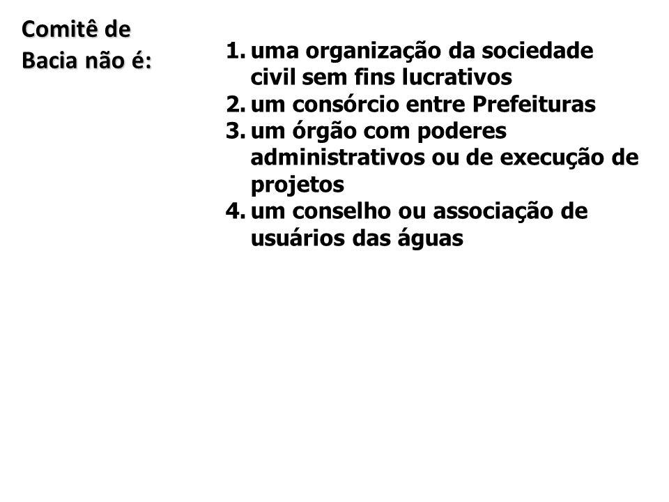 Comitê de Bacia não é: uma organização da sociedade civil sem fins lucrativos. um consórcio entre Prefeituras.