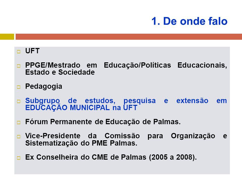 1. De onde falo UFT. PPGE/Mestrado em Educação/Políticas Educacionais, Estado e Sociedade. Pedagogia.