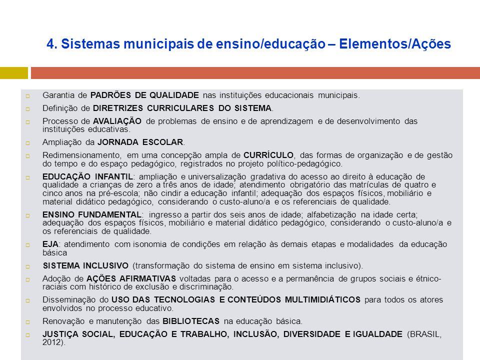 4. Sistemas municipais de ensino/educação – Elementos/Ações