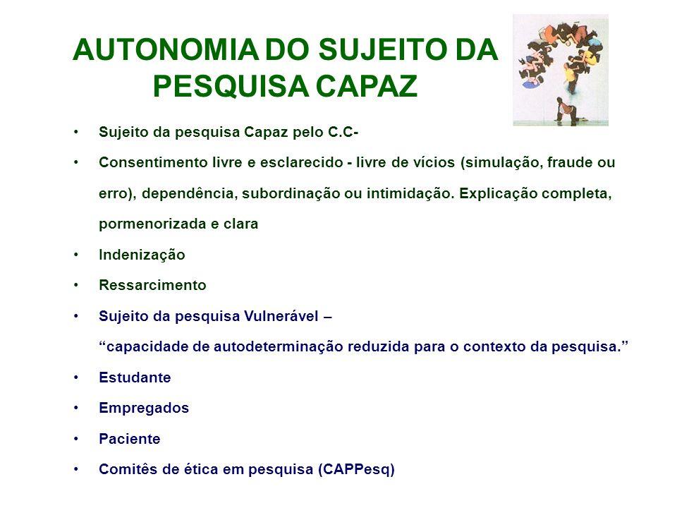 AUTONOMIA DO SUJEITO DA PESQUISA CAPAZ