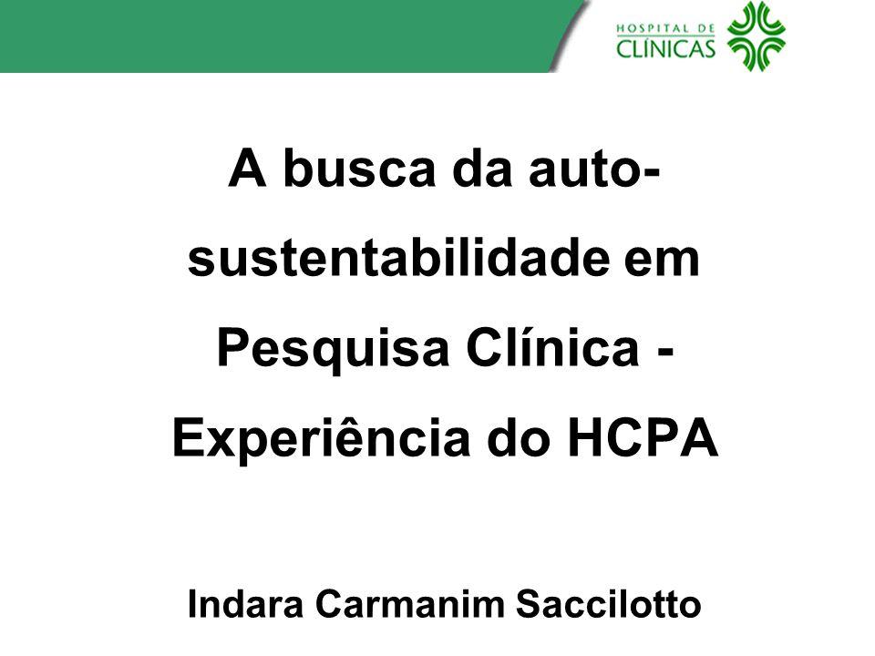 A busca da auto-sustentabilidade em Pesquisa Clínica - Experiência do HCPA Indara Carmanim Saccilotto