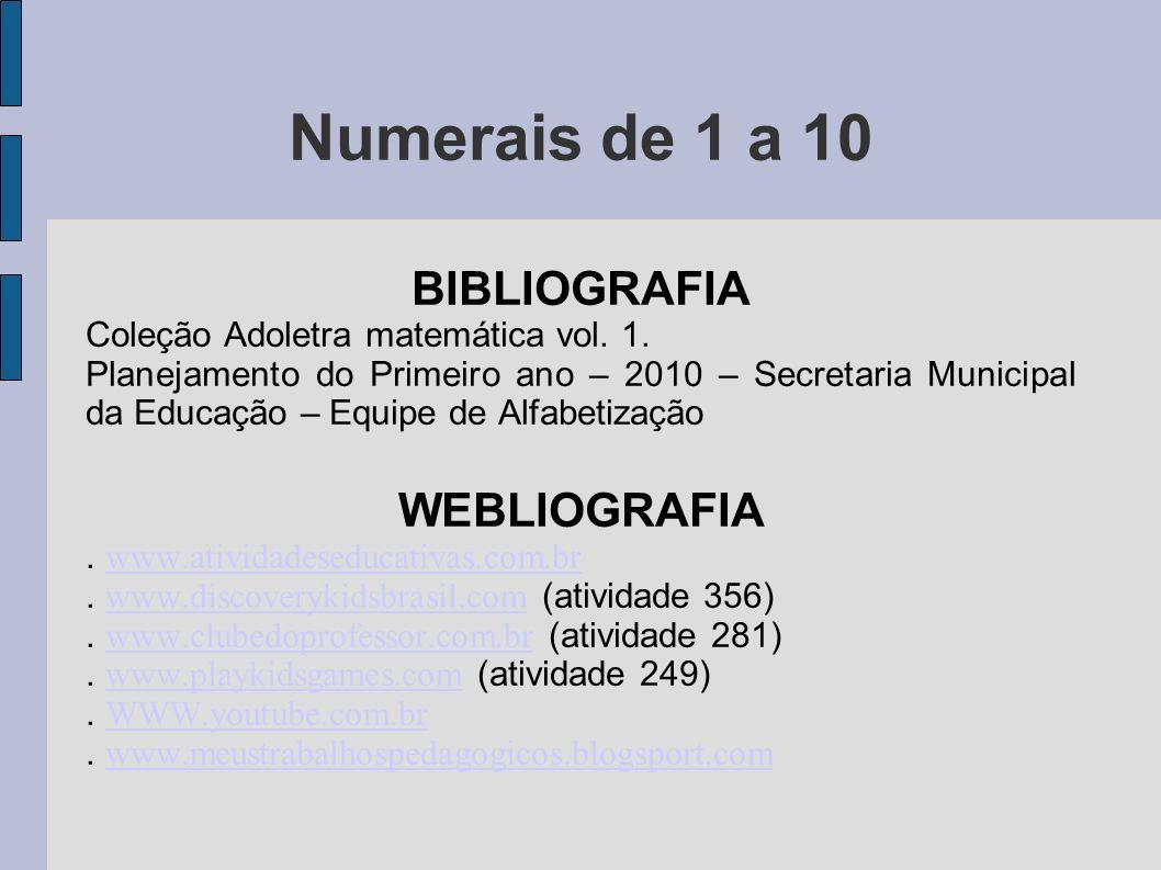 Numerais de 1 a 10 BIBLIOGRAFIA WEBLIOGRAFIA