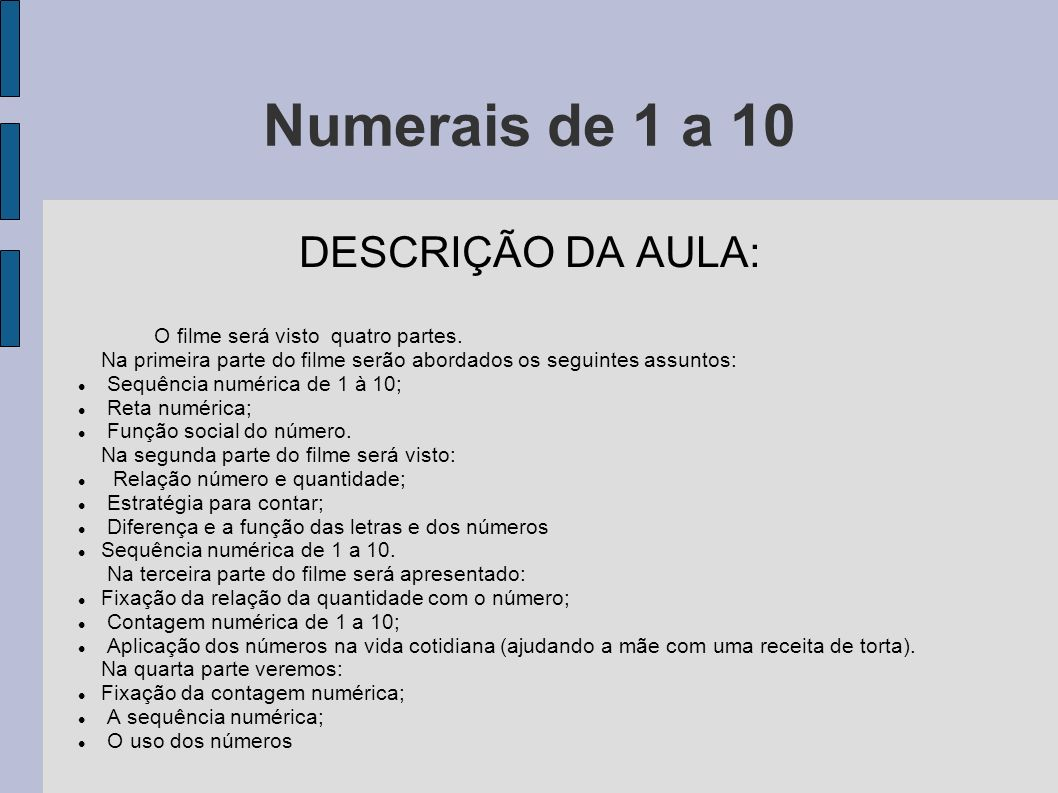 Numerais de 1 a 10 DESCRIÇÃO DA AULA: