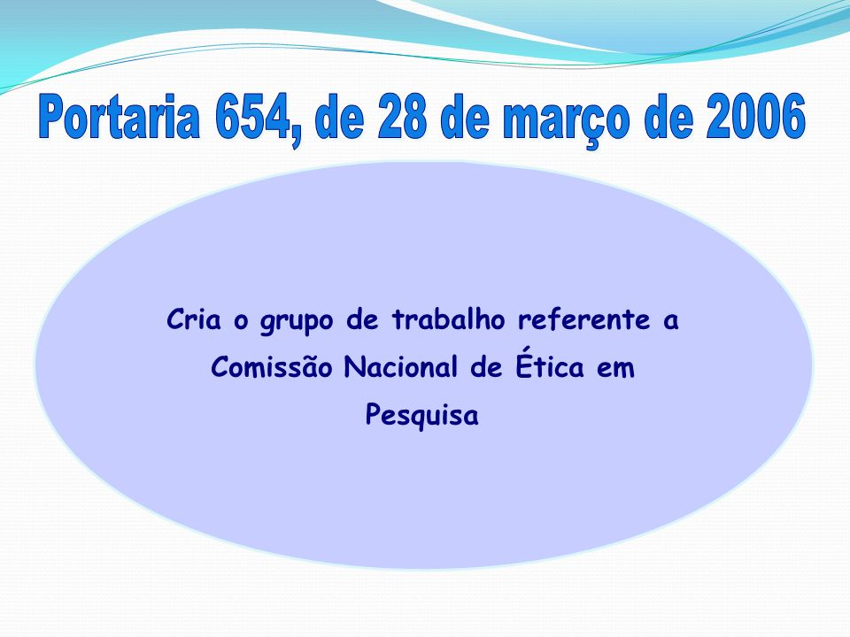 Portaria 654, de 28 de março de 2006 Cria o grupo de trabalho referente a Comissão Nacional de Ética em Pesquisa.